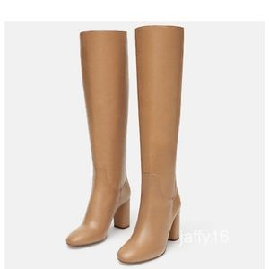 ✨NEW nude camel leather heeled ZARA boots